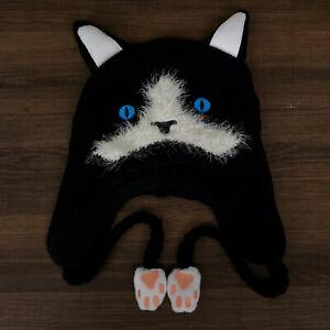 Black Cat Fur Paws Beanie Knit Cap Halloween Costume 2021 Adult Anime New Unworn