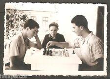 vintage Bulgarian photo men playing chess 1950's