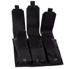Military Tactical MOLLE PALS Triple Open Top Guns Rifle Magazine Mag Pouch Black