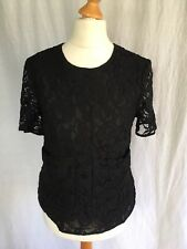 French Connection Size 10 Black Lace Top with Pockets Boat Neck Floral Small VGC
