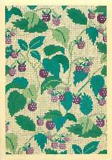 Painting art Postcard Private strawberry plant embroyded on tapistry leaves