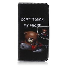 DON'T TOUCH MY PHONE BEAR LUXURY WALLET STAND CASE FOR VARIOUS CELL PHONES