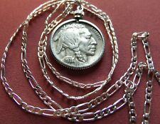 "XF Neat scarce 1938 D Buffalo Nickel Pendant on a 20"" .925 Sterling Silver Chain"