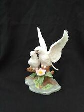 "Porcelain pair white birds doves figurine bisque pink flowers 6"" H"