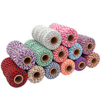 100M Cotton Ropes Two-tone Twine String Cord Rope Bakers Crafts Wrap Tags