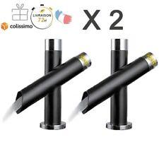 2 X Robinet Lavabo Mitigeur Évier Salle de Bain Mixer Tap Laiton Rétro Noir
