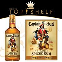 personalised captain spiced rum bottle label birthday any occasion gift