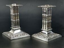 More details for antique silver plated candlestick holder pair by w tonks and sons 19th century