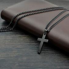 Vintage Kreuz Anhänger Halskette Edelstahl Jesus Design Schwarz holy bible punk