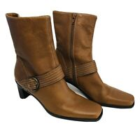Etienne Aigner Women's Leather Jumper Classic Chic Ankle Boots Cognac Brown 10 M