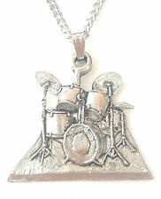 Drum kit Pendant Handcrafted in Solid Pewter In The UK + Free GiftBox PN70