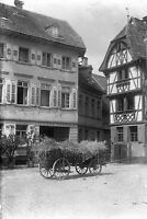 1913 EBERBACH 2 Antique Photographic Glass Negative (1910s Germany Hay Cart)