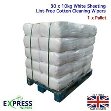 30 x 10KG 100% Cotton White Lint-Free Cleaning Rags / Wipers / Cloths / Pallet