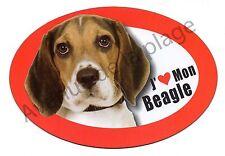 """Magnet chien """"J'aime mon Beagle"""" pour frigo / voiture idée cadeau NEUF"""