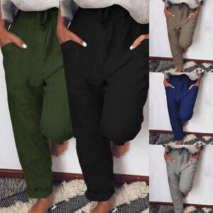 2021 ZANZEA Women Elastic Waist Pull-On Trousers Plain Solid Basic Chino Pants