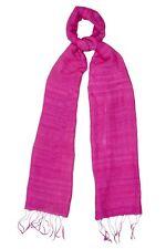 Raspberry Sorbet Pink Raw Silk Scarf - Fair Trade BNWT