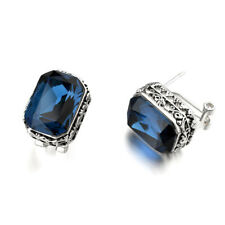 Women's Blue Crystal Rhinestone Filigree Vintage Style Wedding Stud Earring XE14