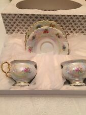 4pc.CZECH REPUBLIC TEA Set FOR 2 With Gold In Box-new,free Shipping