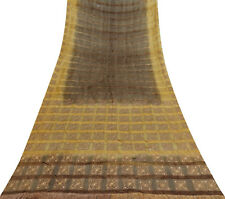 Vintage Saree Khadi Silk Woven Dress Making Used Fabric Deco Sari 5 Yd PSK1606