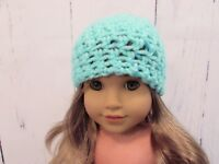 """Cute Bright Turquoise Crocheted Hat fits American Girl Dolls 18"""" Dolls"""