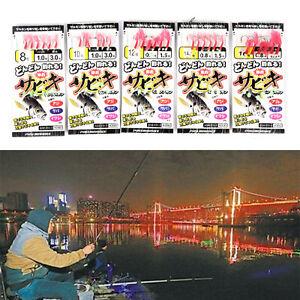 Sabiki Tackle Rigs Saltwater Sea Fishing Lures Trolling Hook Bait #8 10 12  Brpf