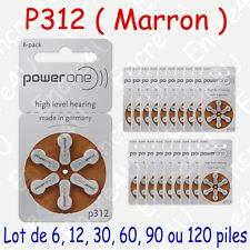 PowerOne P312-6PK-MF Pile Bouton Zinc-Air pour Appareil Auditif - Pack de 6