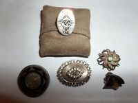 VINTAGE 5 BROOCH PIN LOT STERLING SILVER MEXICO & MORE