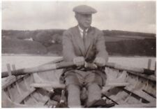VINTAGE OLD PHOTO MAN CAP JACKET OARS BOAT ROWING OUT ON LAKE 1930'S