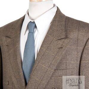 BRIONI Double-Breasted Sport Coat 44L Pecan Brown Silk-Cashmere Windowpane ITALY