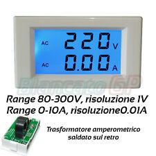 Voltmetro e Amperometro AC digitale display LCD TA fisso 80V - 300V 10A 0.01A