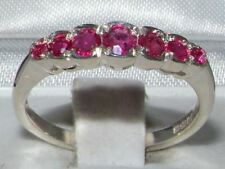 Solid 9ct White Gold  Natural Ruby Contemporary StyleEternity Band Ring