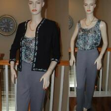 WOW STUNNING ST. JOHN KNIT STEEL BLUE MULTI 3 PC SANTANA KNIT PANT SUIT SZ 4