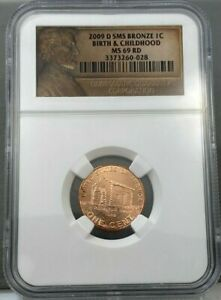 2009-D 1c SMS Bronze Lincoln Birth & Childhood NGC MS69 RD Bicentennial Coin