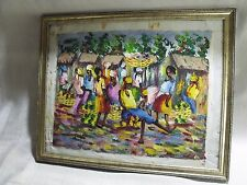 "ANTIQUE 14"" BY 18"" BRIGHT HAITI VILLAGE HARVEST PALETTE KNIFE SIGNED PAINTING"