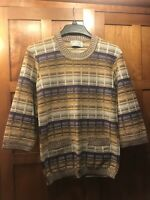 Women's Jaeger 100% Wool Multicolored StrIped Long Sweater Size Small 2 Pockets