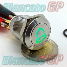 PULSANTE 19mm PER CAMPANELLO SIMBOLO ILLUMINATO LED 12V VERDE ACCIAIO INOX METAL
