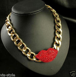 Red Lips Necklace Mouth with Swarovski Crystals 18K Gold