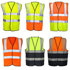 HI VIS VIZ VEST HIGH VISIBILITY WORK WAISTCOAT REFLECTIVE SAFETY SECURITY TOP