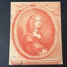 Gravure XIXè Portrait Christine Reine de Suède Sanguine 19thC Sweden Etching