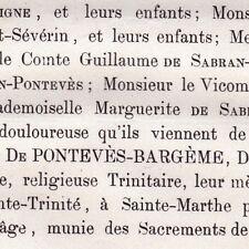 Victorine Amélie Antoinette De Pontevès-Bargème Elzéar De Sabran Marseille 1862