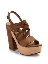 Ralph Lauren Polo Bree Wooden Platform Suede Sandal Size 40 (US 9) NWOB