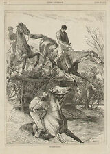 Steeplechasing Horse And Rider Jumping Rail Fence Original Antique Art Print