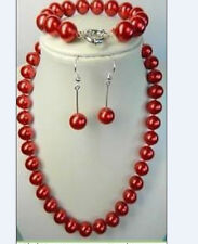 "Bracelet 7.5''AAA 14mm Red South Sea Shell Pearl Necklace 18""AAA"