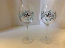 Charter Club Grand Buffet 2 Two Wine Glasses BLUE  Design Silver New White