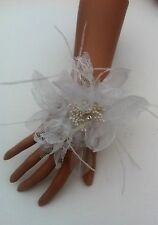 3 White Chiffon Brides,Bridesmaids, Flower Girls Wrist Corsage Weddings, Proms
