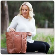 New Vanchi Lucca Nappy Bag Tote in Leather Chestnut - Free Shipping!
