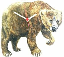 Brown Grizly Bear Wall Clock Made In UK Gift Boxed