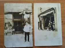 "Antique Photos 3.5"" X 5.5"" Folks In Front of Store Shoe & Candy Stores 2 Photos"