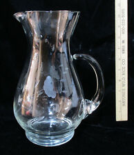 """Princess House Crystal Glass Water Pitcher Heritage Etched Flower Floral 10"""""""