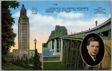 Baton Rouge, Louisiana Postcard State Capitol Bldg / Huey P. Long Bridge / Linen
